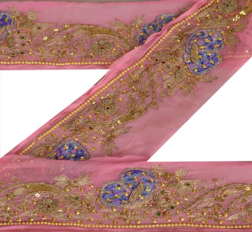 Vintage Sari Border Antique Hand Beaded 1 YD Indian Trim Sewing Pink Patch Lace