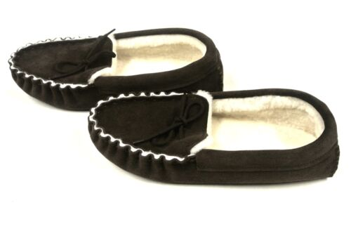 100% Genuine Sheepskin Moccasin Slippers Brown Unisex Made In The UK Sizes 3-12
