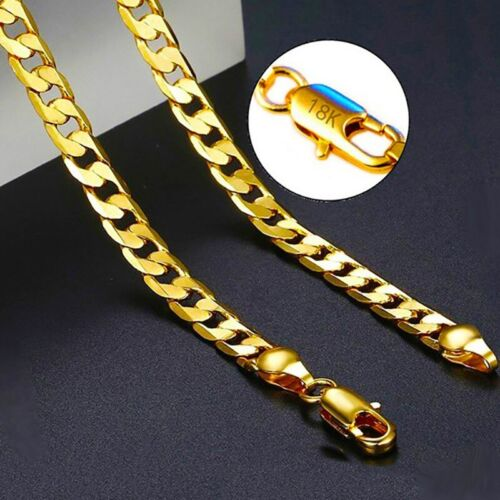 18k Yellow Gold Necklace Womens Mens Cuban Curb Link 6mm Chain + GiftPg D292