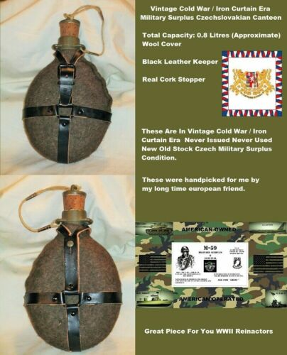 Vintage Czech Military Surplus Canteen W/ Cork Stopper,Wool Cover,leather KeeperMess Kits - 158443