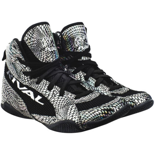 Rival Boxing Lo-Top Guerrero Boots - Silver Snake Skin/Black <br/> Exclusive Seller of Rival Boxing on eBay
