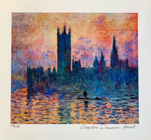 """CLAUDE MONET """"HOUSES OF PARLIAMENT"""" Estate Signed Limited Edition Small Giclee"""