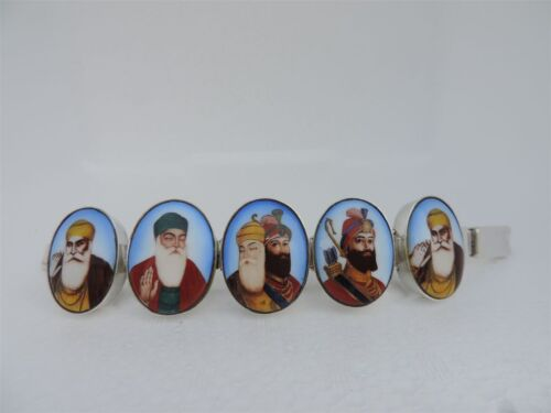 MUSEUM INDIA ? INDO-PERSIAN SOLID STERLING SILVER  BRACELET PAINTED SIKH GURUS