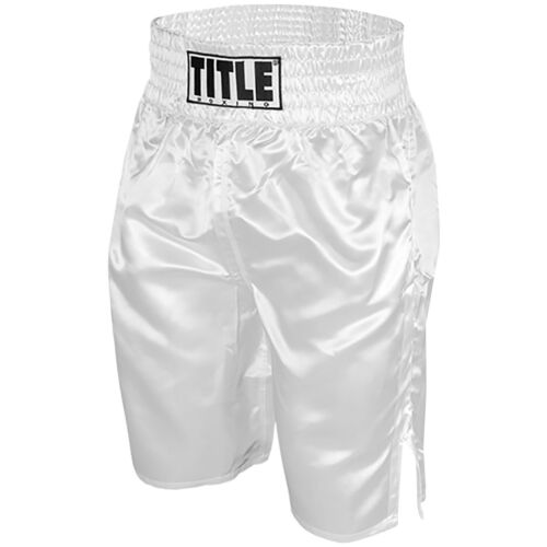 Title Professional Boxing Trunks - White <br/> Exclusive Seller of TITLE Boxing on eBay