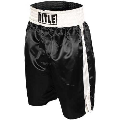 Title Professional Boxing Trunks - Black/White <br/> Exclusive Seller of TITLE Boxing on eBay