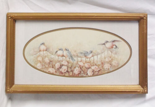 """Sparrows Along Fence/Roses-1985 21 X 10""""-Matted/Framed/Signed Margie Morrow"""