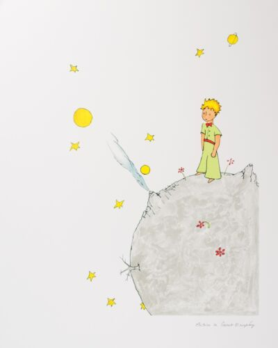 Saint-Exupery - The Little Prince on Asteroid B-612 (signed lithograph)