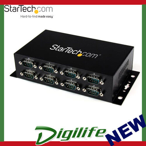 StarTech USB to 8 Port DB9 RS232 Serial Adapter Hub – Industrial DIN Rail