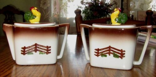 VINTAGE ORCHARD WARE HAND DECORATED CALIFORNIA ROOSTER Chicken Sugar & Creamer