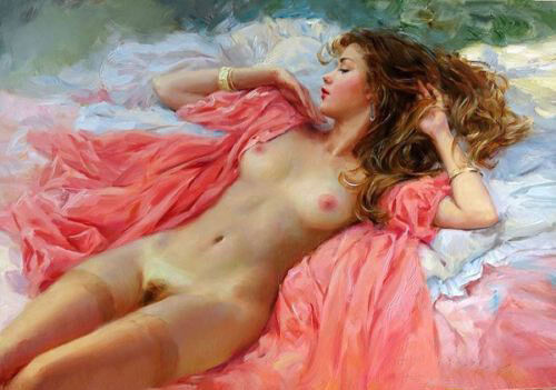 CHENPAT493 pink long dress nude girl Lying on the bed oil painting art canvas
