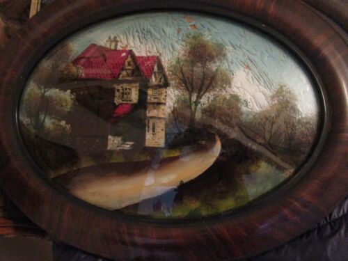 OVAL ANTIQUE REVERSE GLASS PAINTING CONVEX GLASS WOOD FRAME BRIDGE INN