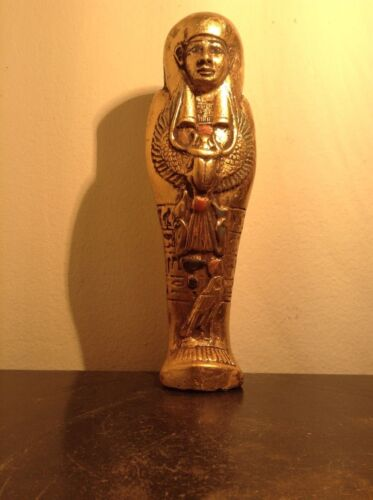 Rare Antique Ancient Egyptian Ushabti w scarab God Horus Water Gold 1570-1460BC
