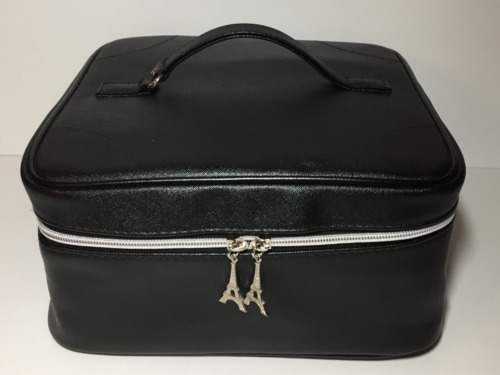 Lancôme Faux Leather Square Cosmetic Bag/Train Case Black with Top Handle New