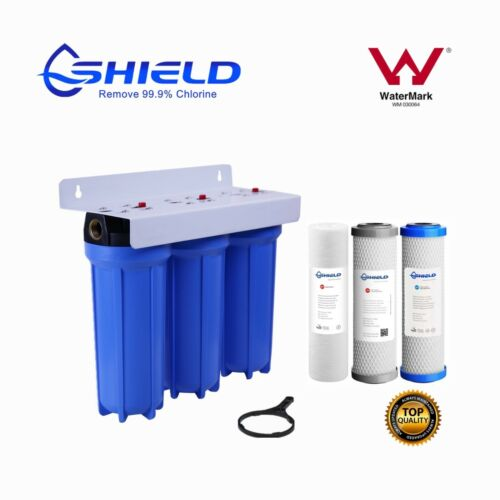 """Triple Whole House Water Filter System 10"""" x 2.5"""" 3 Stages 3/4"""" Port  WaterMark"""