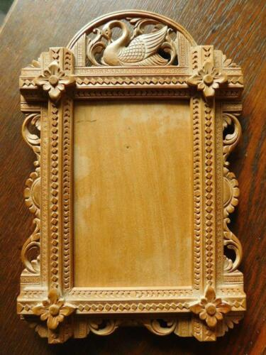 Gorgeous Antique hand carved Boxwood Picture Photo frame with Swan India? 1900s