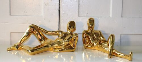 Pair Gold Plated Large Modernist Abstract Reclining Man Woman Sculptures by Jaru