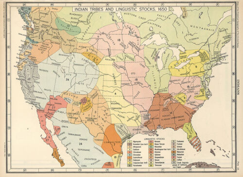 1650 US Map Indian Tribes & Linguistic Stocks Native American Historical Poster
