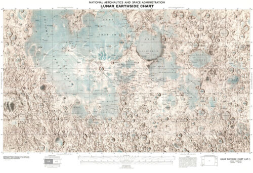 1976 NASA Lunar Earth-side of Moon Chart Astronomy Reference Map Wall Poster