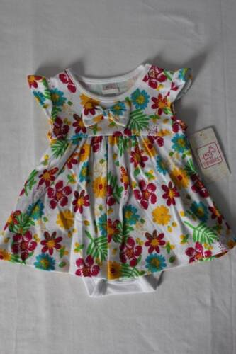 NEW Baby Girls Outfit Size 6 - 9 Months Multi-Colored Flowers Dress Bodysuit