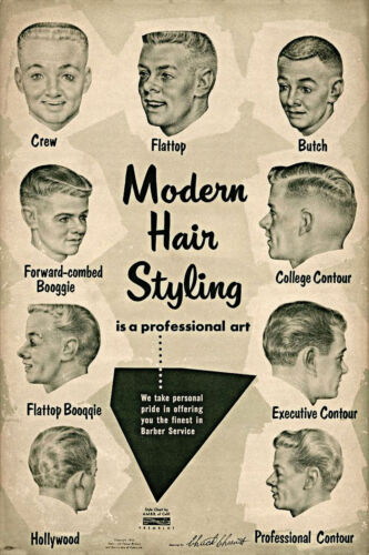 Vintage Ad Modern Hair Styling Chart Barbershop Haircut Drawings Decor Poster