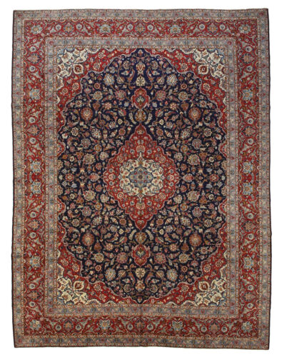 Vintage Traditional Oriental Rug, 11'x15', Blue/Red, Hand-Knotted Wool Pile