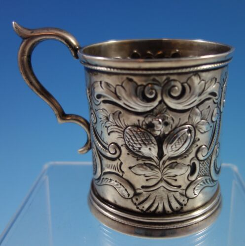 Coin Silver Baby Cup with Repoussed Fruit and Scrollwork (#2168)