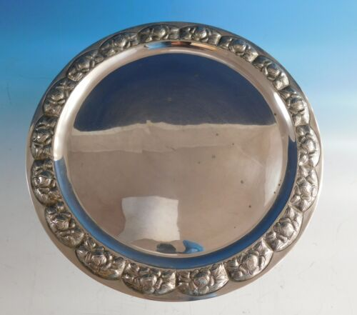 "Aztec Rose Mexican Mexico Sterling Silver Tray Round Signed by B.M. 13"" (#2176)"