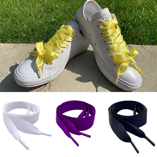 White Purple Pink Black Red Yellow Silver Ribbon Flat Shoe laces Trainer Laces