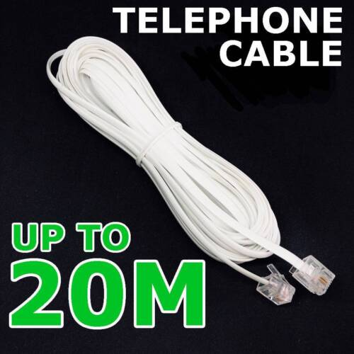 4.8ft RJ11 to RJ11 Male to Male Telephone Cable Connector White TP