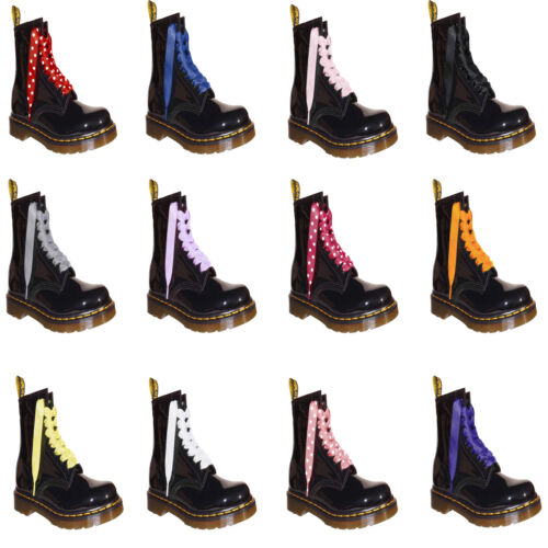 NEW Satin Ribbon Laces Bootlaces with our LOGO Aglets Fits Ankle DOC Boot Shoes
