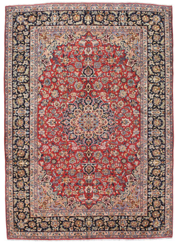 Vintage Oriental Najafabad Rug, 10'x14', Red/Blue, Hand-Knotted Wool Pile