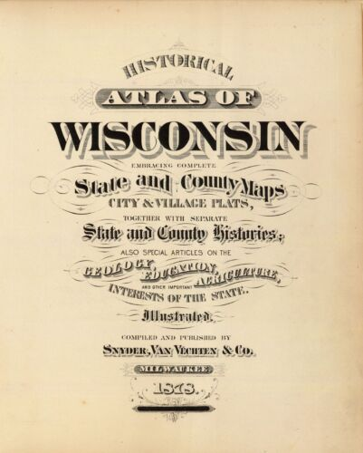 1878 WISCONSIN STATE ATLAS maps old GENEALOGY  DVD S3