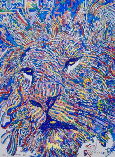 Guillaume Azoulay TETE DE LION Hand Signed Giclee Art on Canvas