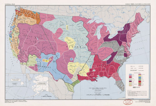 US Map of Indian Tribes, Cultures & Languages Native American History Art Poster