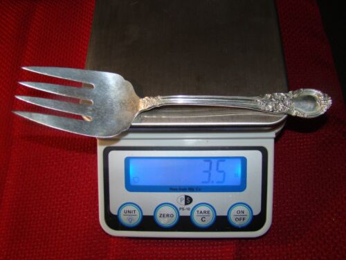 """LUNT AMERICAN VICTORIAN STERLING SILVER MEDIUM COLD MEAT FORK 8 7/8"""" NO MONOGRAM"""
