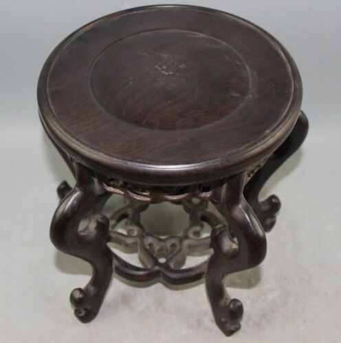 860g Chinese Wood carved wood stand  height 18cm