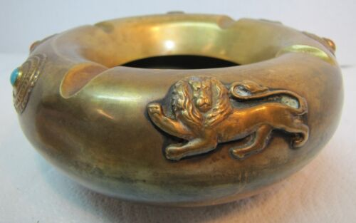 Old Brass LIONS Ashtray Red Blue Bead High Relief Ornate Cigar Cigarette Tray