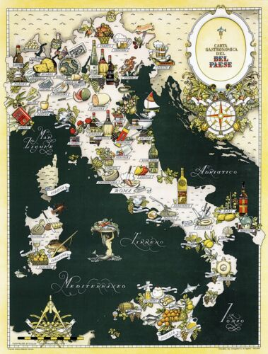 Gourmet Map of Italy Gastronomical Cuisine Food Italian Regions Wall Poster