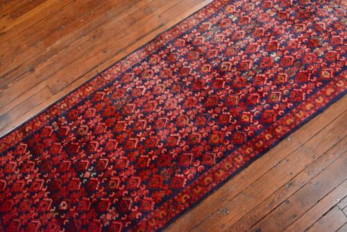 Vintage Persian Mahal Design Runner, 3'x8', Blue/Red, All wool pile
