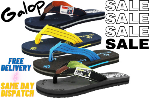 Boys Ladies Flip Flops Anchor Canvas Toe Post Flat Pool Beach Summer Sandal