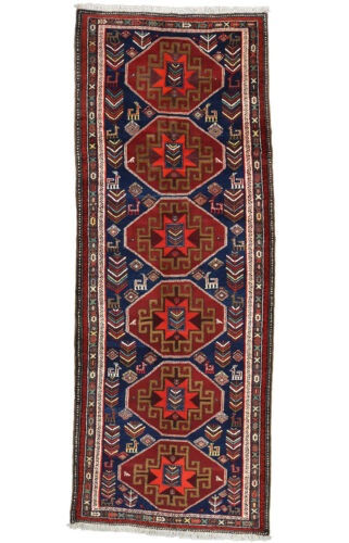 Vintage Tribal Caucasian Runner, 4'x11', Blue, Hand-Knotted Wool Pile