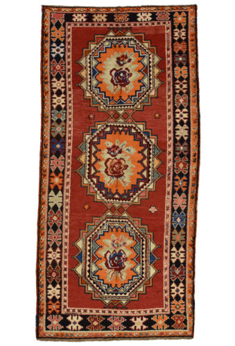 Vintage Tribal Caucasian Rug, 5'x10', Red/Black, Hand-Knotted Wool Pile