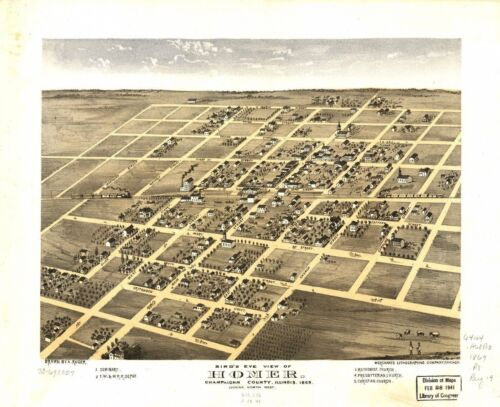 1869 HOMER ChamPAign County panoramic ILLINOIS map GENEALOGY atlas  poster IL30