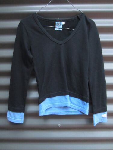 Rip Curl Girl's Black With Blue Long Sleeve Top Size 8 Measured Chest 72 cm