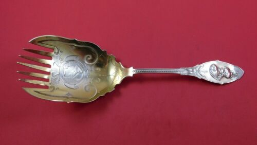 """Medallion by J. & W. Moir NYC Coin Silver Salad Serving Fork GW BC 9 3/4"""""""