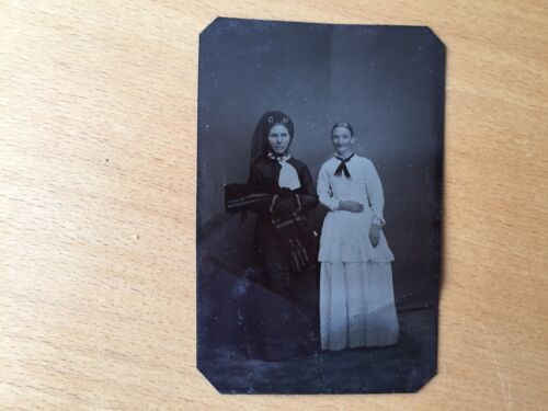 RARE VINTAGE HIGH FASHION: Two Beautiful Standing Well Dressed Ladies Tintype