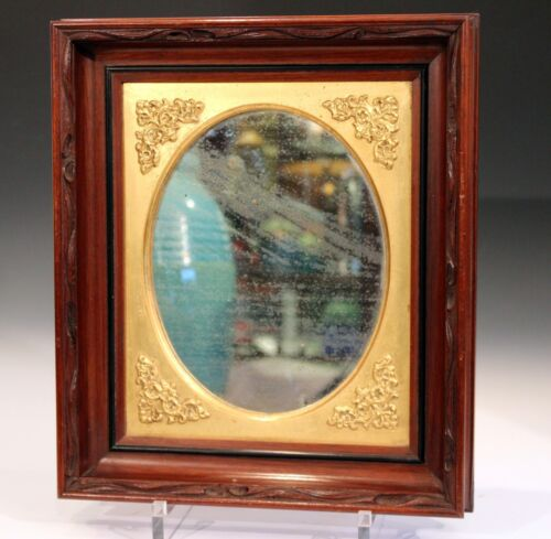 Antique Oval Mirror Old Glass Carved Mahogany Frame Early New England 19th C
