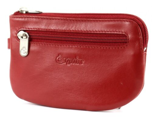 Esquire New Silk Key Case with Zip Red