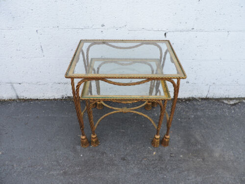 Hollywood Regency Gold Leaf Rope Nesting Tables Set of Two 7832