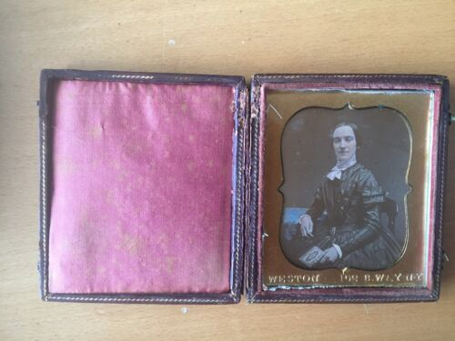 TINTED MAKER MARKED DAGUERREOTYPE Maker-Marked Dag of a Woman by Weston of NY